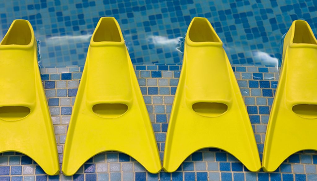 Four yellow flippers expecting swimmers